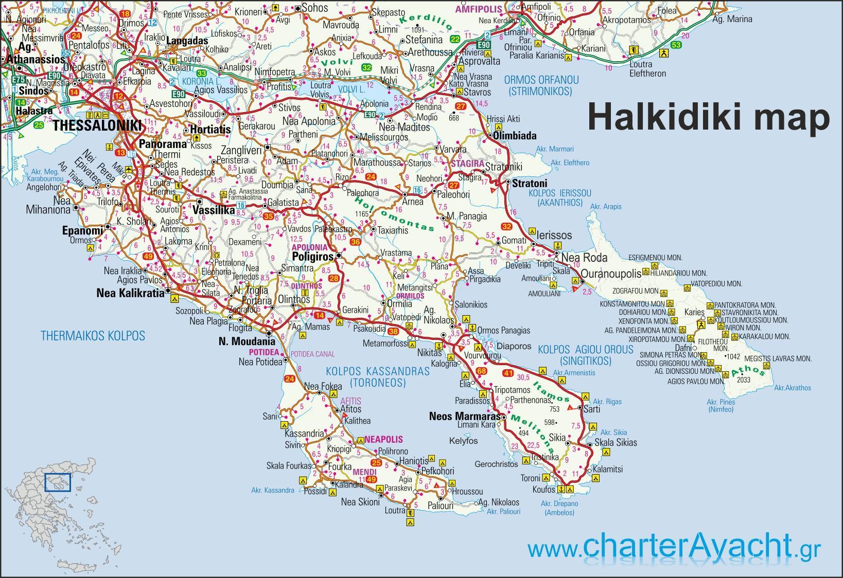 Chalkidiki Recko Mapa Mapa Recko Chalkidiki Jizni Evropa Evropa