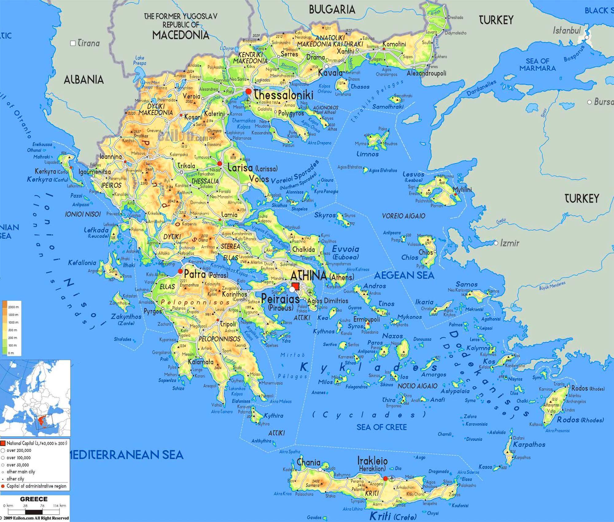 Mapa Reckych Ostrovu Mapa Reckych Ostrovu Jizni Evropa Evropa