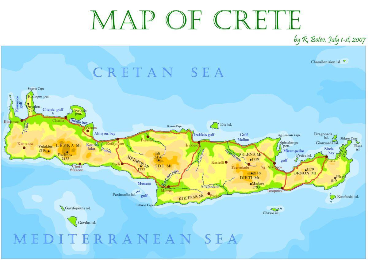 Ostrov Kreta Recko Mapa Kreta Recko Mapa Island Jizni Evropy