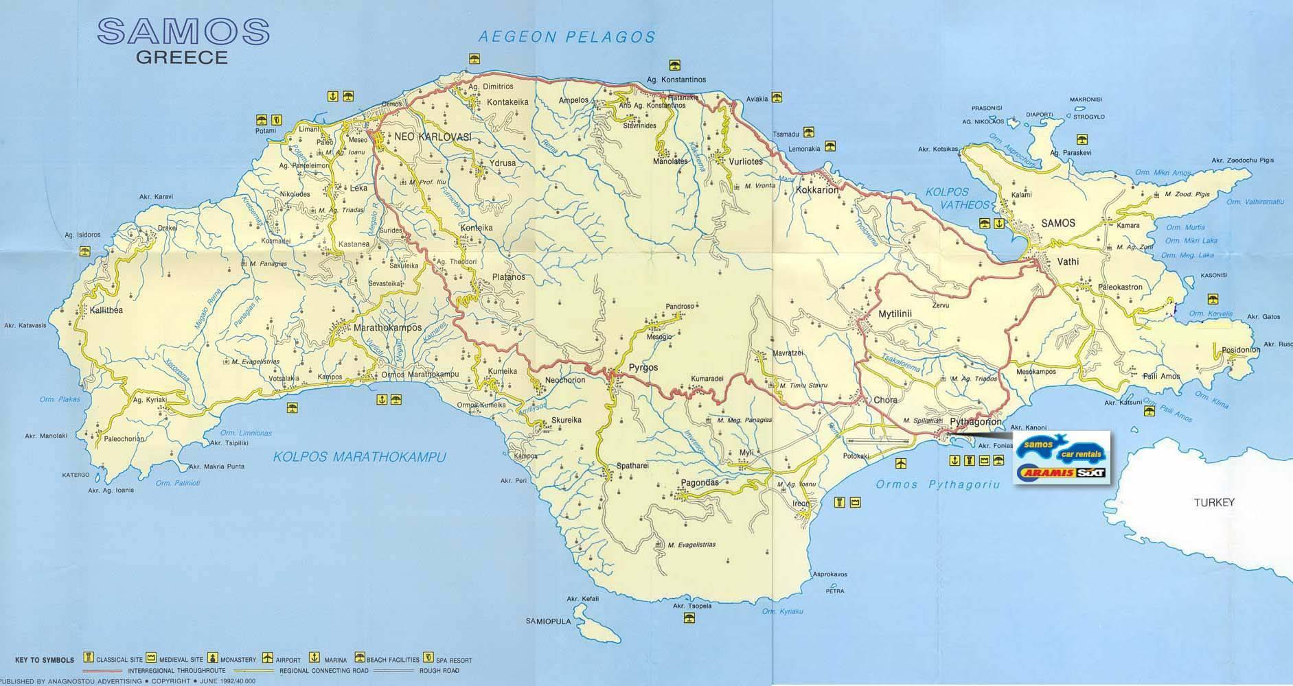 samos mapa Samos Řecko mapa   Mapa Samos Řecko (Jižní Evropa   Evropa) samos mapa