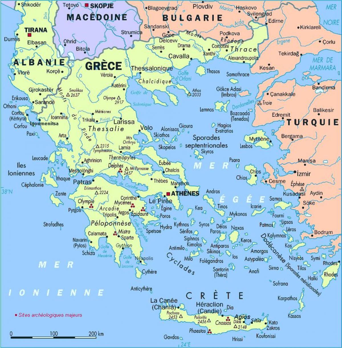 Recko Ostrovy Mapa Mapa Recko S Ostrovy Jizni Evropa Evropa