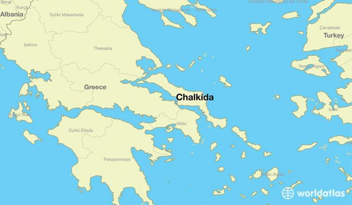 Chalkida Recko Mapa Chalkidiki Recko Mapa Jizni Evropa Evropa