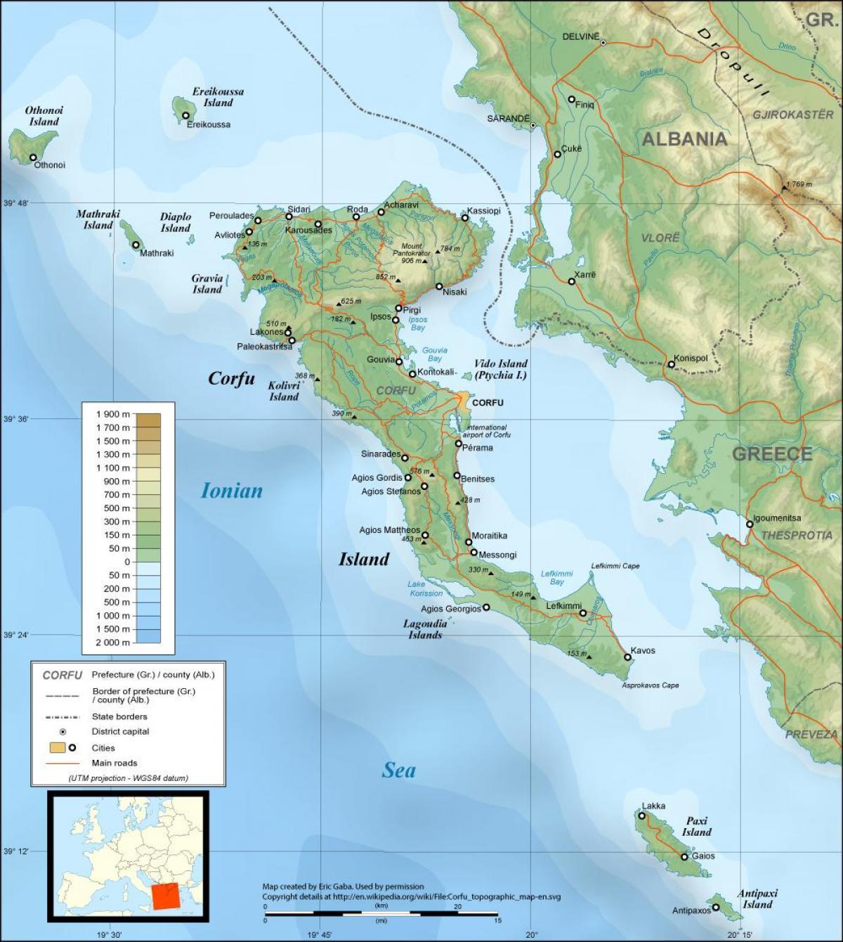 Korfu Recko Mapa Recka Mapa Korfu Recko Jizni Evropa Evropa
