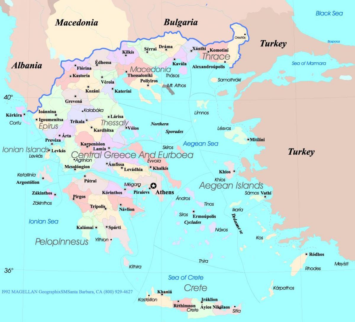 Mapa Recko A Ostrovy Recko Mapa Ostrovy Jizni Evropa Evropa